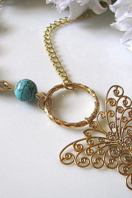 Soft Golden Butterfly Pendant with Blue Turquoise Beads Necklace