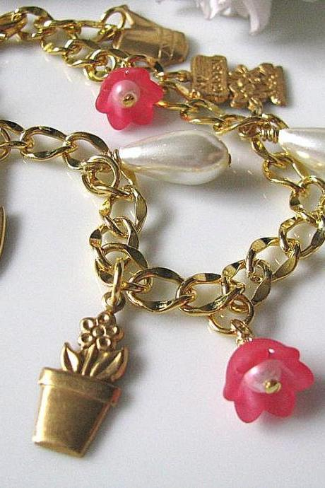 Flower Garden Bracelet - Nature Inspired, Gift For Her, Gift For Mum
