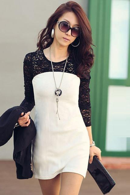 Chic Black Lace Patchwork High Waist Dress for Lady