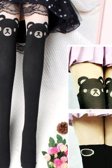 Teddy Bear Pantyhose leggings, sexy pantyhose, sexy legging, Bear Leggings,Tattoo Pantyhose,Teddy Tights Stockings, Cute Pantyhose Leggings