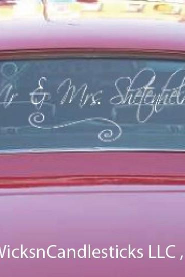 Wedding Getaway Car Decals Mr and Mrs Personalized