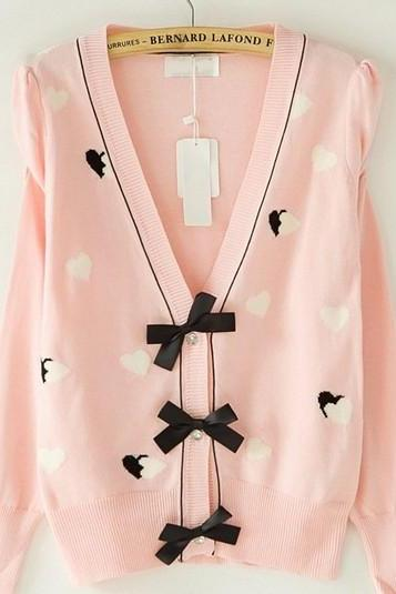 New Fall 2013 Pink Bow Cardigan Sweater