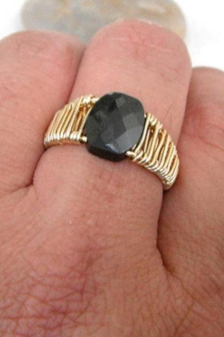 Faceted Black Zircon Wire Weaved Ring