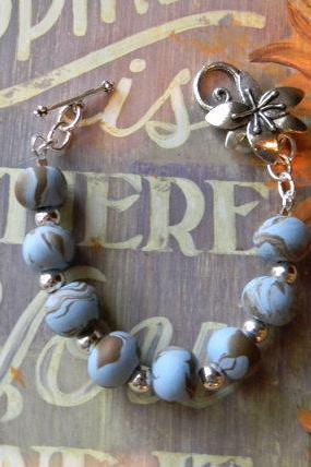 FREE SHIPPING - Handcrafted Beaded Polymer Clay Bracelet