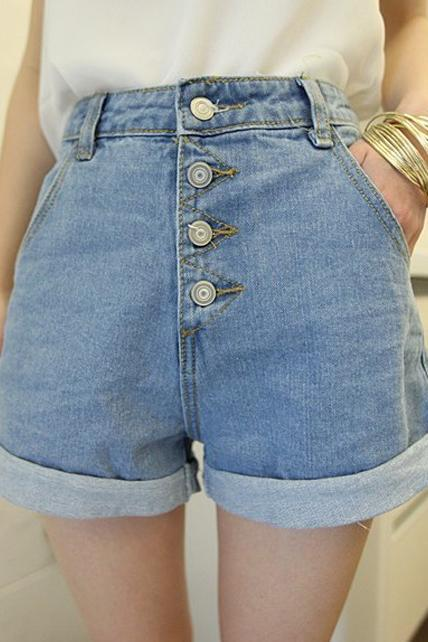 Casual Button Design High Waist Denim Shorts