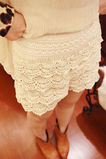 Sweet Middle Waist Lace Shorts for Girls - White
