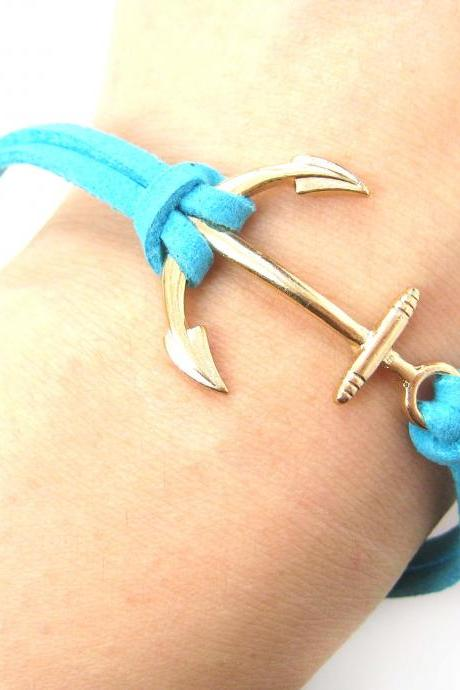 Anchor Shaped Simple Bracelet in Gold and Turquoise Blue