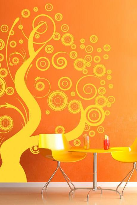 Whimsical Swirly Circles Tree Wall Decal 39' x 48'
