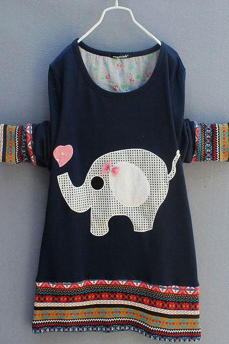 Lovely Cute Elephant Long-sleeved T-shirt &Sweater