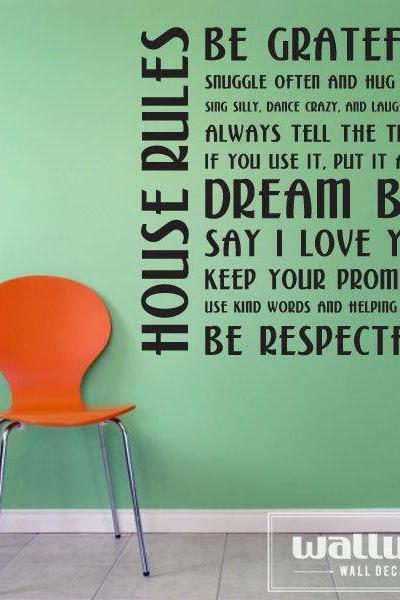 26' House Rules - Vinyl Wall Art Decal Sticker