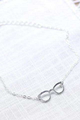Cute Glasses charm Bracelet detailed with CZ in Silver
