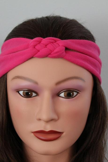 pink Knotted Jersey Headband, T-Shirt Headband, Sailor's Knot Headband, Yoga Headband, pink hairband