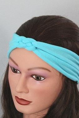 blue Knotted Jersey Headband, T-Shirt Headband, Sailor's Knot Headband, Yoga Headband, blue hairband