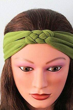 green Knotted Jersey Headband, T-Shirt Headband, Sailor's Knot Headband, Yoga Headband, green hairband