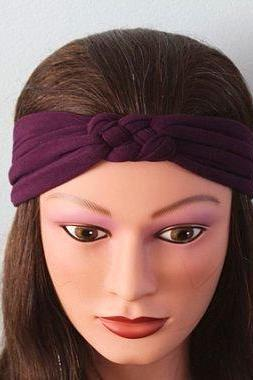 purple Knotted Jersey Headband, T-Shirt Headband, Sailor's Knot Headband, Yoga Headband, purple hairband