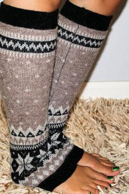 Women's taupe Knitted Leg Warmer or Boot Topper with pattern, Stocking Stuffers, stripe open boot socks