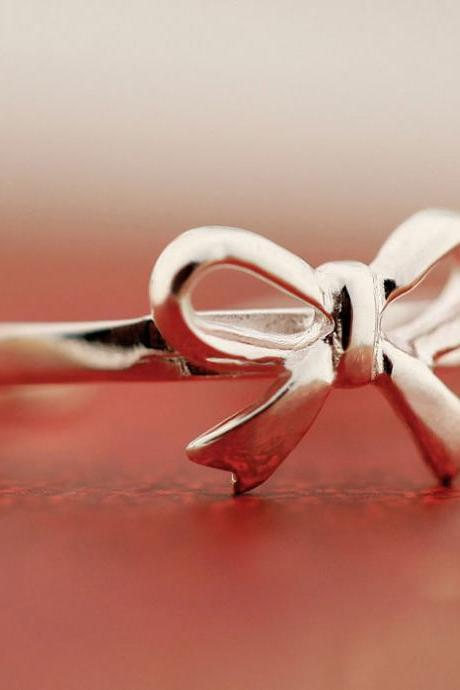 Sweet BowKnot Silver Ring
