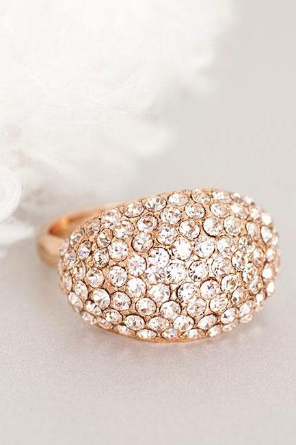 Pink Gold Crystal Cocktail Ring, Sparkling Gala Jewelry