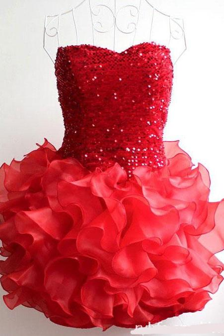 Sequins Falbala Short Strapless Dress Evening Dress Party Dress Dancing Dress - Red