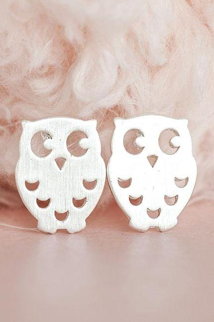 Silver Baby Owl Stud Earrings, Whimsical Bird Jewelry