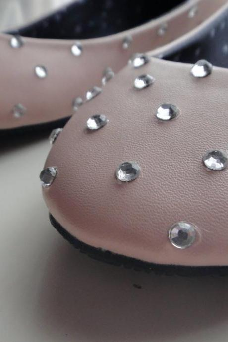 Ballet Flats with Rhinestones - Nude and Silver