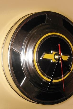 Retro Industrial Decor Chevy Hubcap Clock Man Cave Decor