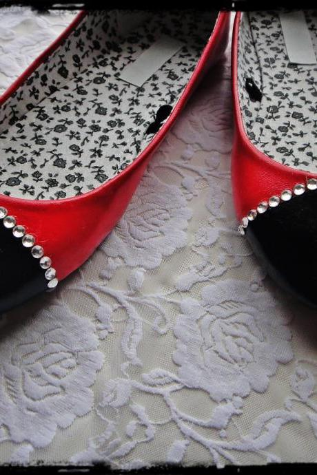 Black and Red Chanel Inspired Rhinestone Ballet Flats