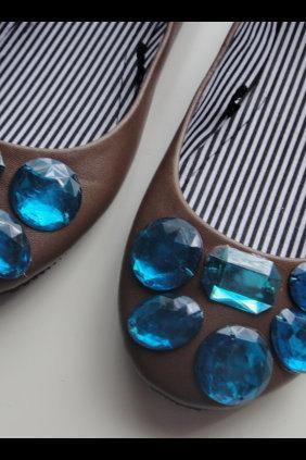 Gemstone Ballet Flats - Brown with Turquoise OOAK
