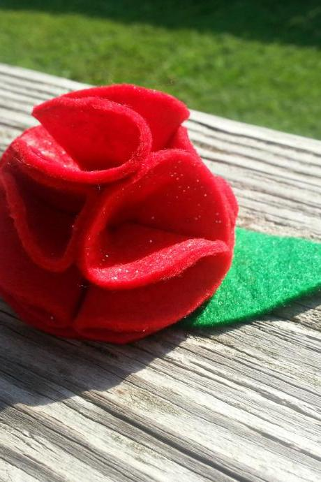 Red Rose Felt Flower Hair Clip