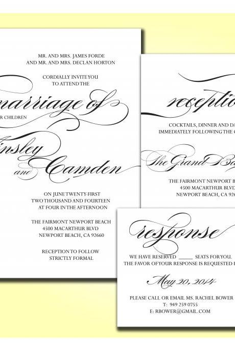 Wedding Invitation Card Set : Adeline - printable diy CUSTOMIZED