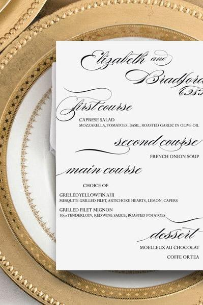 Wedding Party Menu: Adeline - printable dinner menu CUSTOMIZED