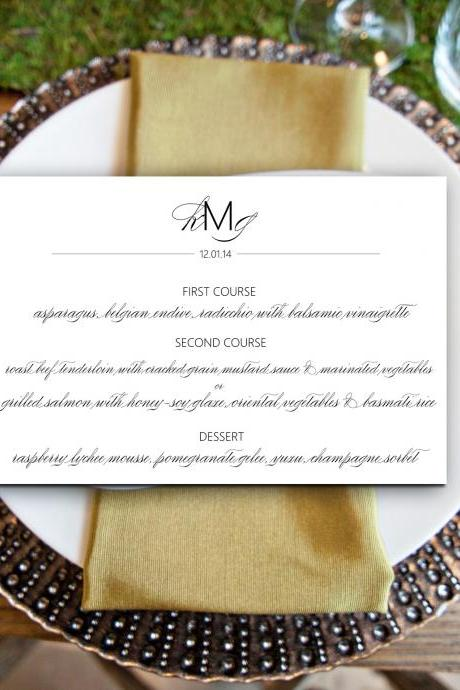 Wedding Party Menu: Cora - printable dinner menu CUSTOMIZED