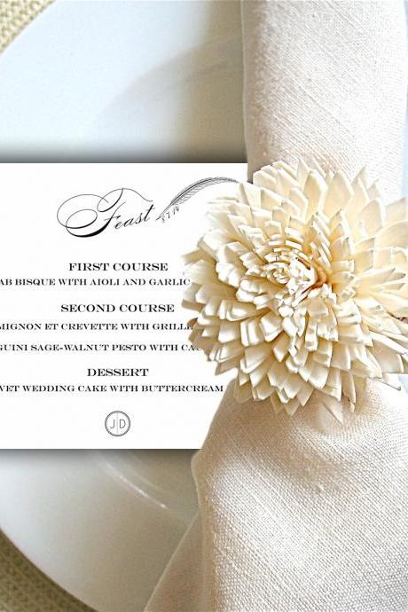 Wedding Party Menu: Zara - printable dinner menu CUSTOMIZED