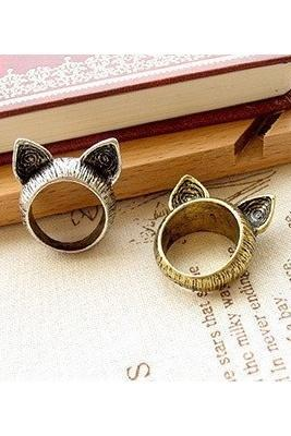 Vintage Cute Cat Ear Ring