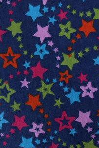 Dark Blue Multi Star Flannel Fitted Crib Sheet with Matching Minky Blanket