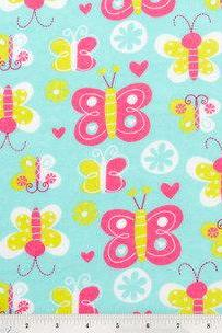 Baby Girl Flannel Butterfly Print Crib Sheet