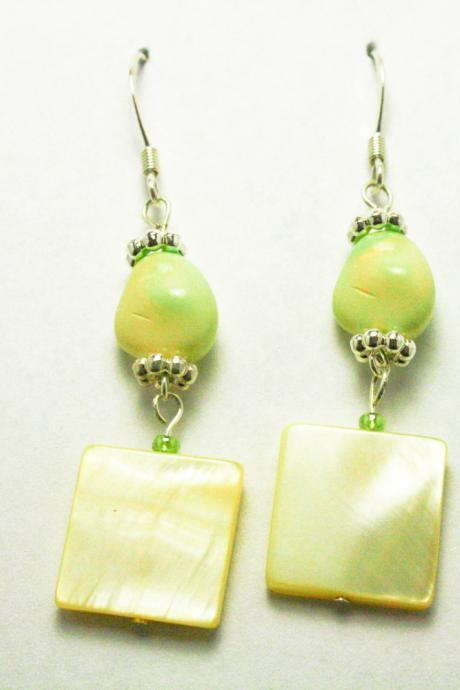 CLEARANCE Lemon Lime Shell Dangle Earrings