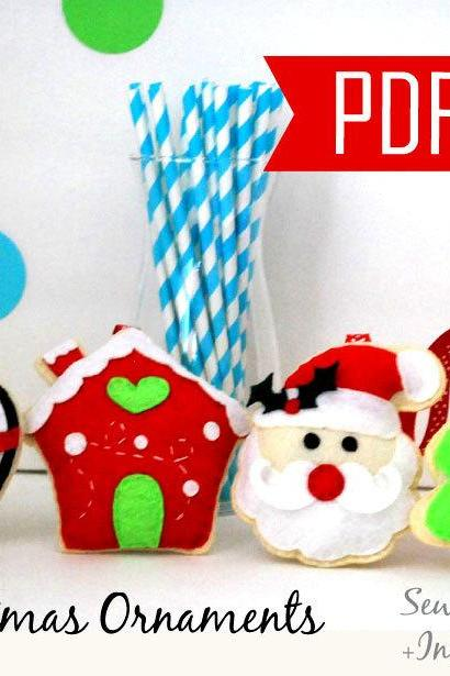 PDF DIY Christmas Ornament set of 4 Felt Sewing Pattern Penguin, gingerbread house, Santa and Christmas Tree- Kit C MariaPalito A866