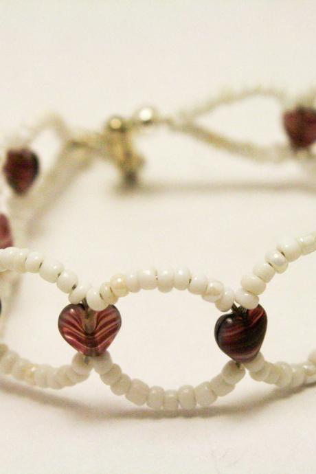 CLEARANCE White and Purple Heart Bracelet