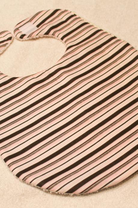 Baby Girl Pink and Brown Stripe Bib
