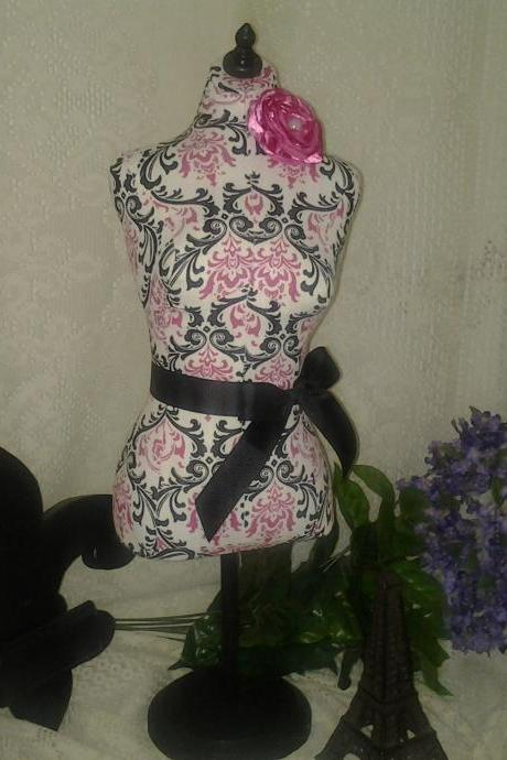 "Boutique Dress form designs jewelry display, Pink and black 19"" torso great for store front display or home decor. Sale"