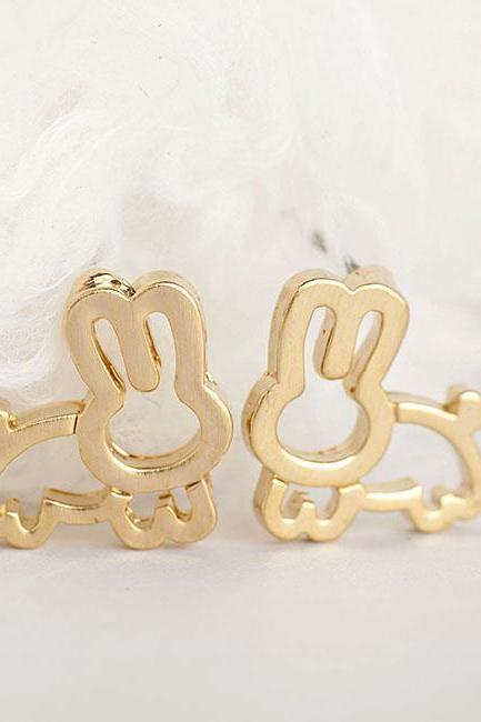 Gold Rabbit Earrings, Bunny Jewelry, Whimsical