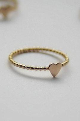 SweetHeart Gold Filled Stacking Ring- Sweet Heart unique Wedding Ring- Wedding gift - Dainty Heart Stacking Gold Ring- Wedding