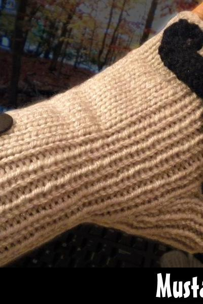 Mustache Mitts Knitting Pattern