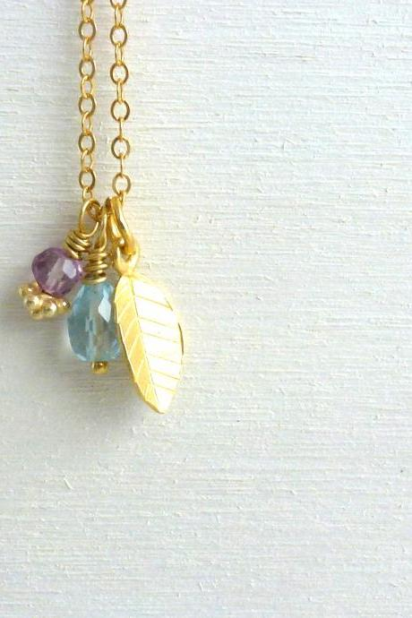 Leaf Charm Necklace in Gold Filled with Aquamarine and Amethyst
