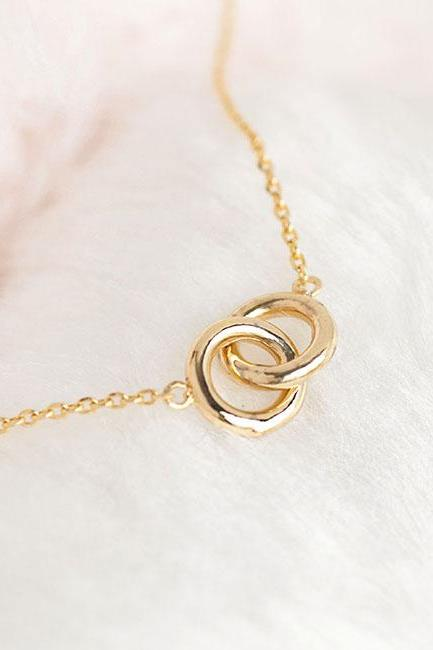 Gold Double Ring Necklace, Infinity Eternal Interlinked Hoop Circle Necklace