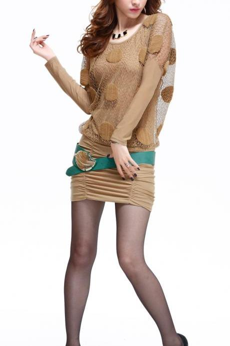 New autumn Sexy women's fashion long-sleeve dress-Khaki