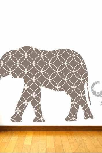 Nursery Mother and Baby Elephant Wall Decals for Children