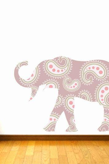 Kids Decor Elephant Wall Decal Fabric with Paisley Design for Children