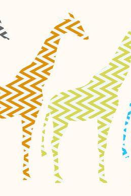 Kids Decor Giraffe Decal Set in zigzag pattern